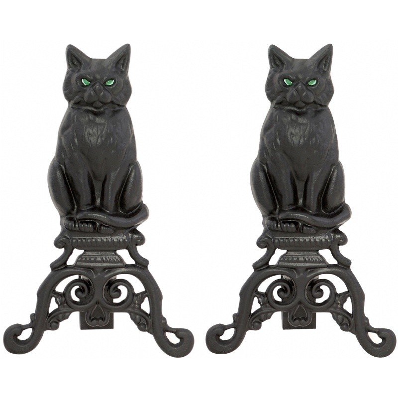 Black Cast Iron Cat Andirons With Reflective Glass Eyes : Fire Pits & Fireplaces