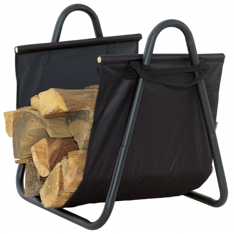 Black Log Holder With Heavy Canvas Carrier : Fire Pits & Fireplaces
