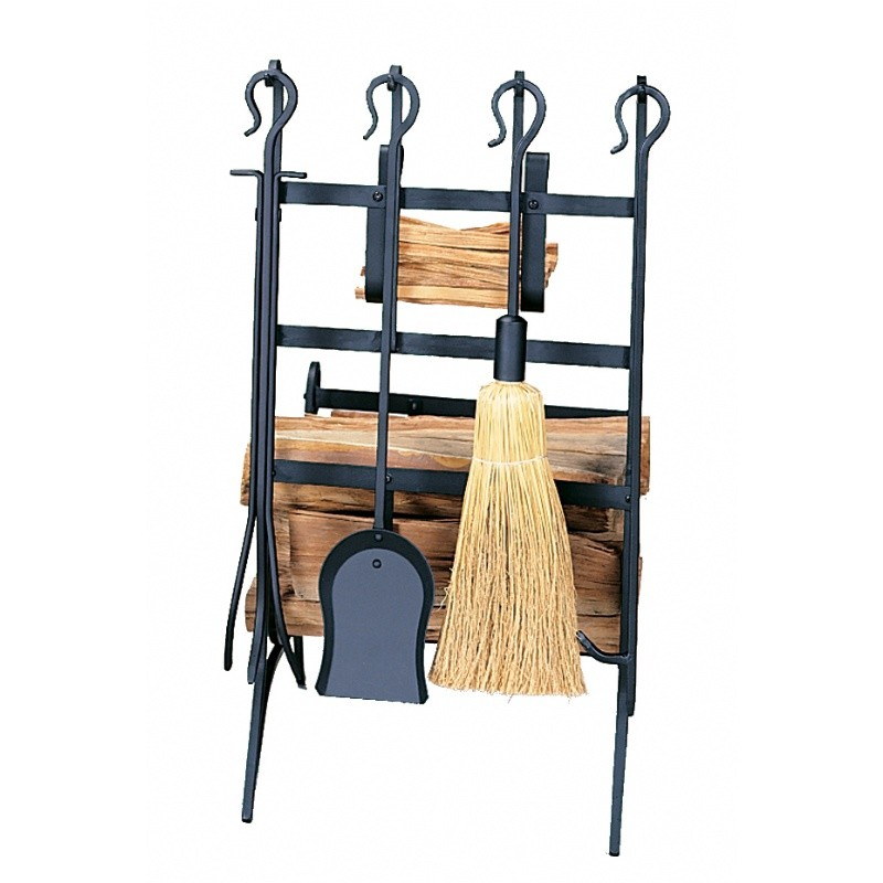 Black Log & Kındling Rack With Fire Tools