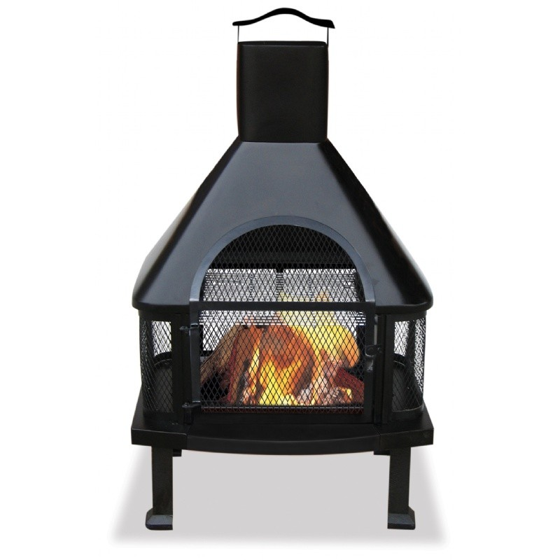 Fire Pit Screen Outdoor Decor: Black Outdoor Chimenea Fireplace