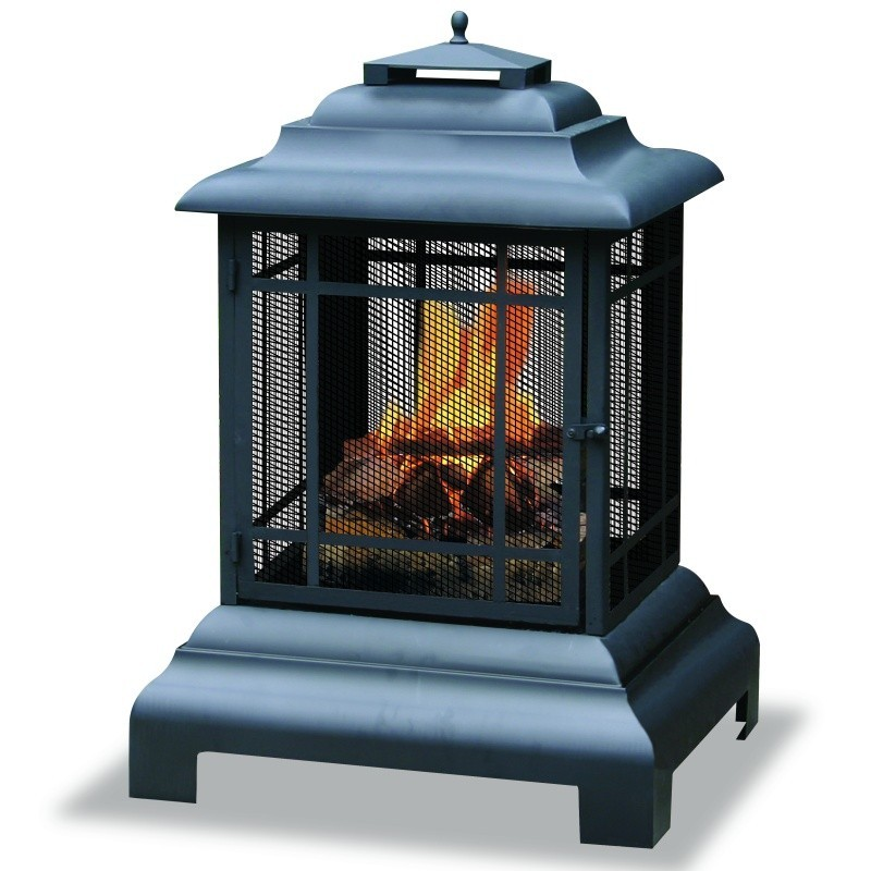 Gas Fire Pit Kit: Black Outdoor Firehouse