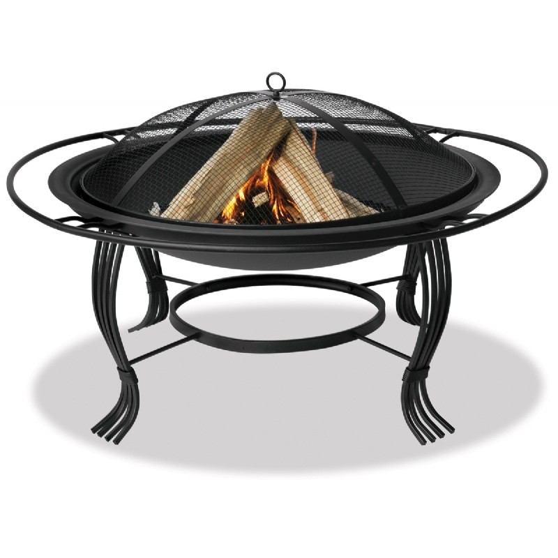 Fire Pit Cooking Grill: Black Wrought Iron Fire Pit with Spark Screen