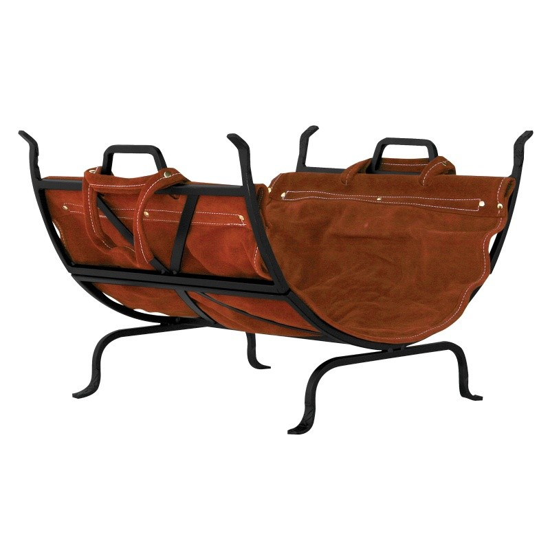 Black Wrought Iron Log Holder With Leather Carrier