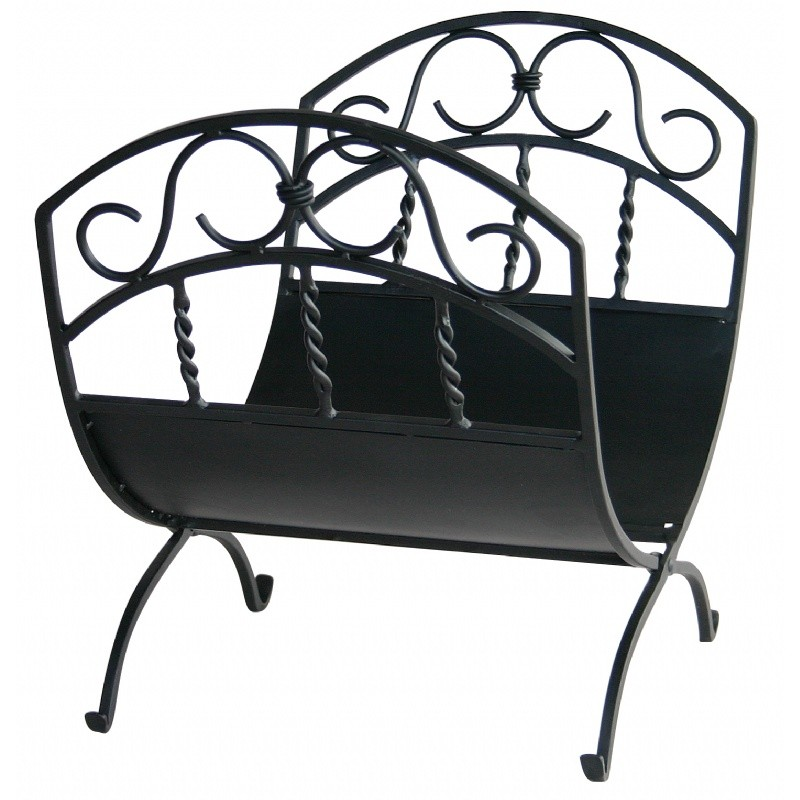 Black Wrought Iron Log Rack With Scrolls