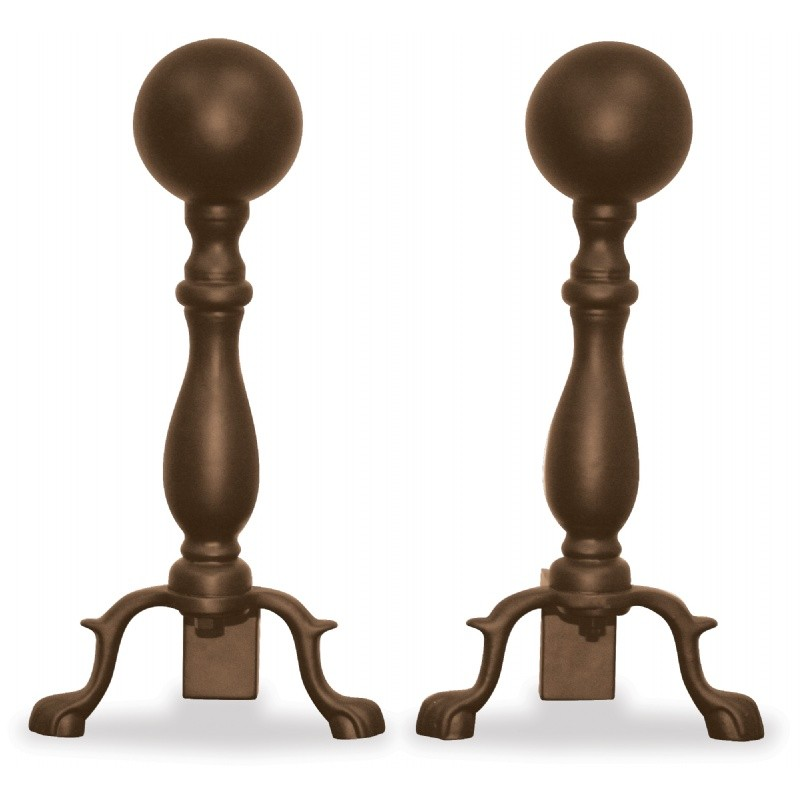 Bronze Ball Andirons : Fire Pits & Fireplaces