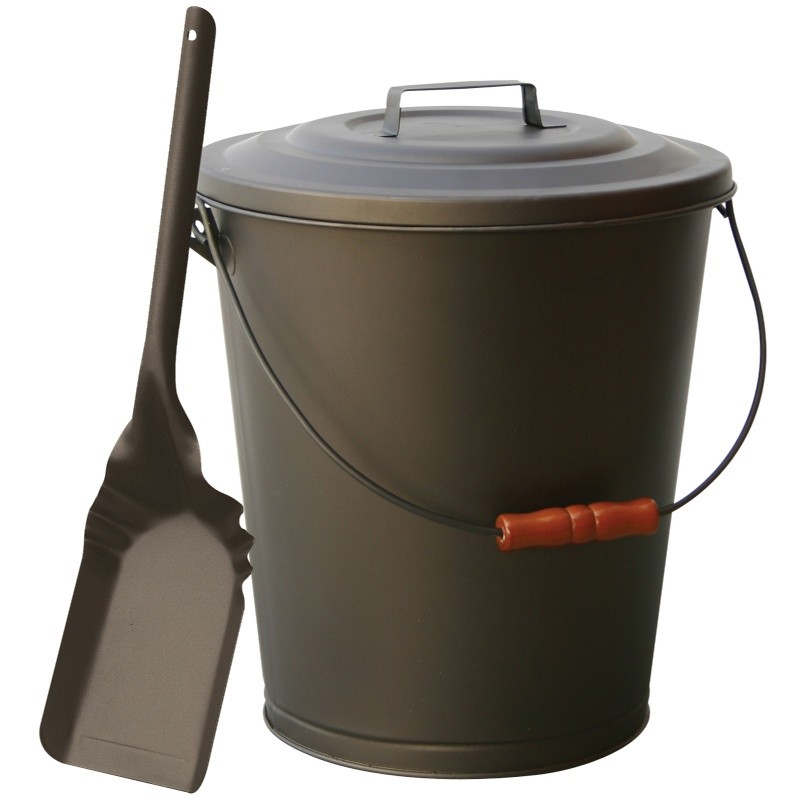 Bronze Finish Ash Bin With Lid And Shovel : Fire Pits & Fireplaces