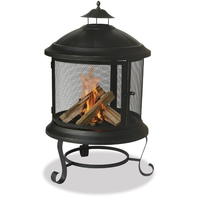 Fire Pit Cooking Grill: Bronze Firehouse Chiminea Fire Pit