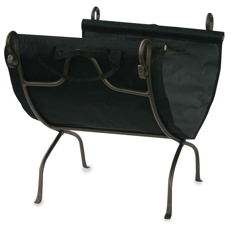 Bronze Wrought Iron Log Rack With Canvas Carrier
