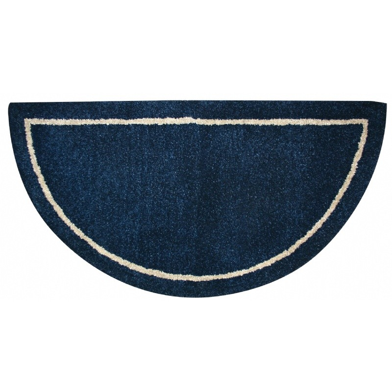 Deep Blue Hand-Tufted 100% Wool Hearth Rug
