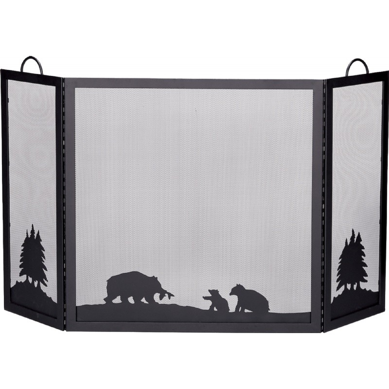 Deluxe 3 Panel Black Wrought Iron Screen With Hunting Bear Scene : Fire Pits & Fireplaces