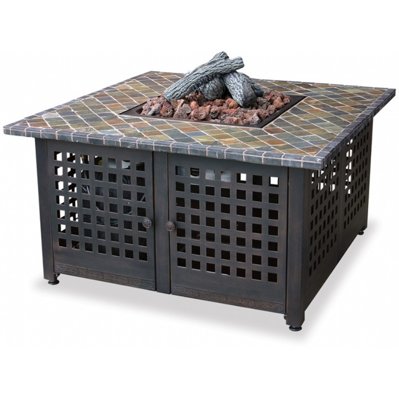 Gas Fire Pit Heater With Slate Mantel