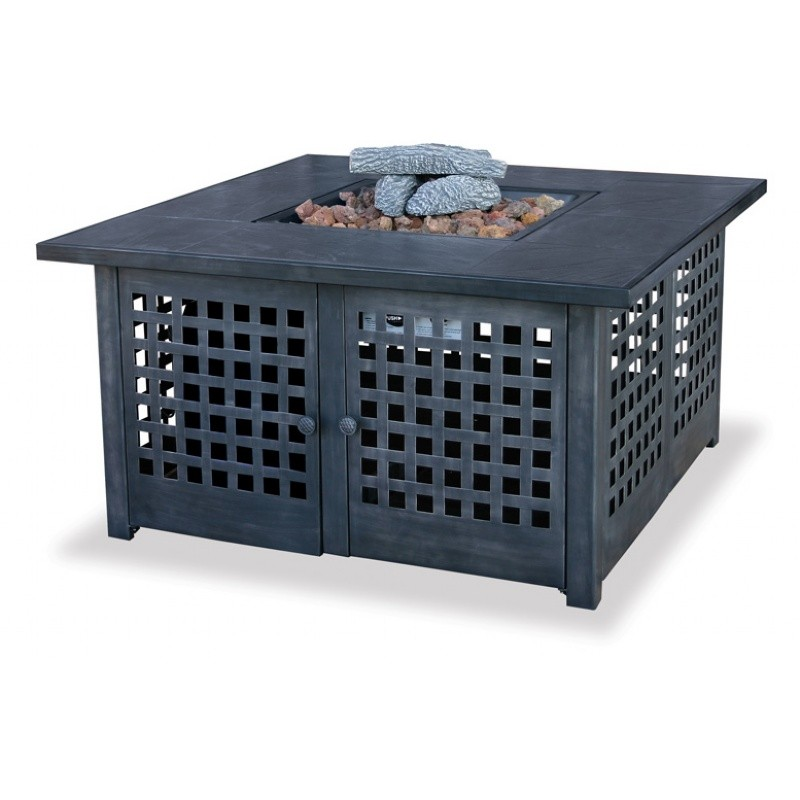 Steel & Bronze Fire Pits: Gas Outdoor Fire Pit Heater with Tile Mantel