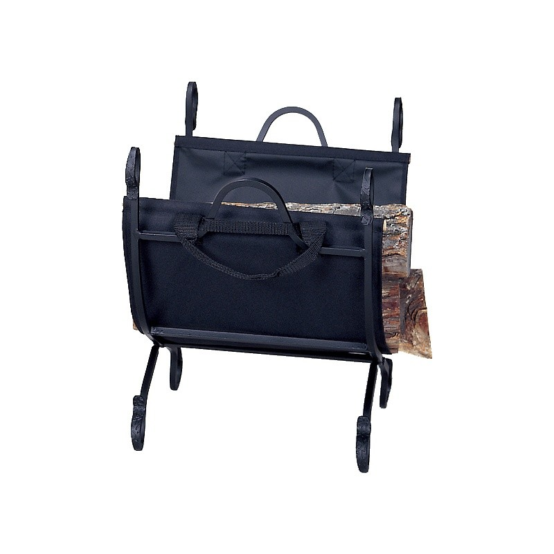 Hammered Crock Black Log Holder With Canvas Carrier : Fire Pits & Fireplaces
