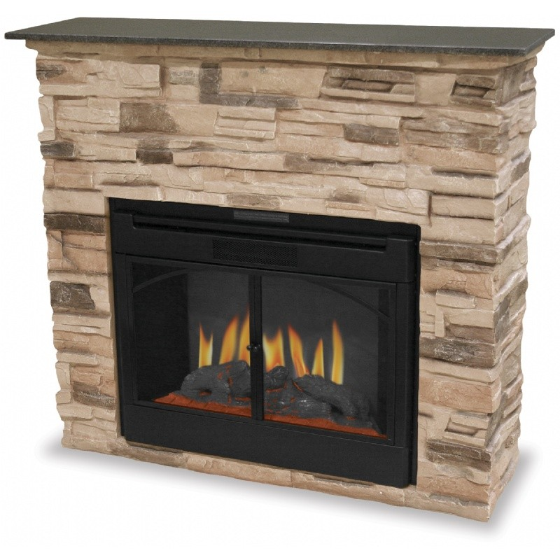 Indoor Electric Fireplace With Stacked Stone Surround : Fire Pits & Fireplaces
