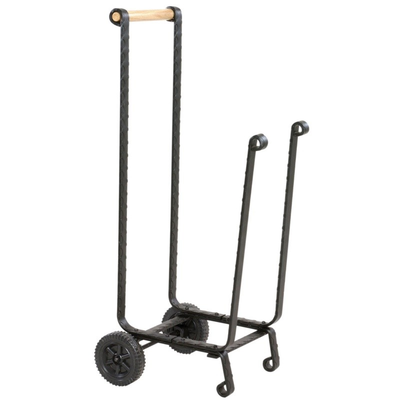 Large Black Log Rack With Wheels