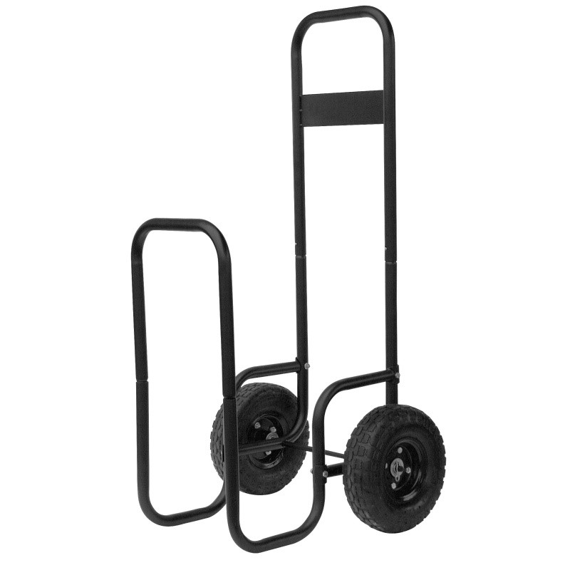 Large Black Wrought Iron Log Rack With Wheels