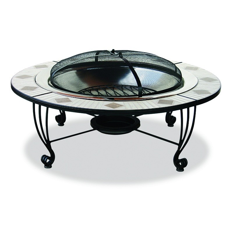 Fire Pit Tables: Mozaic-Tile 45 inch Copper Firepit with Spark Screen