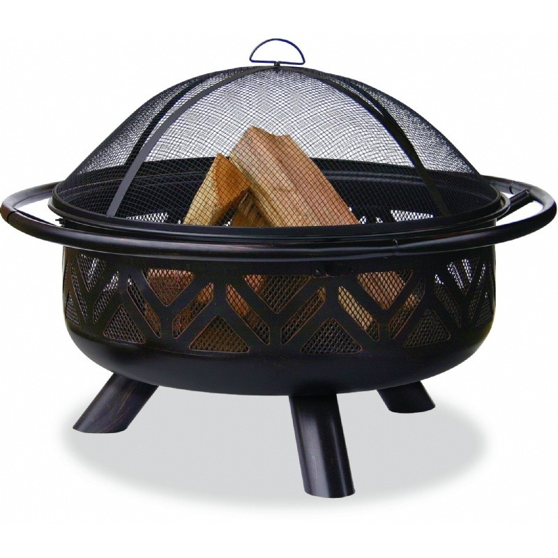 Fire Pit Cooking Grill: Deep Bronze Outdoor Fire Pit with Geometric Design