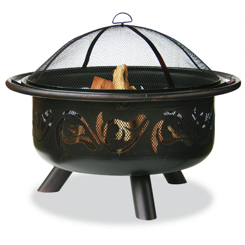 Fire Pit Screen Outdoor Decor: Deep Bronze Outdoor Fire Pit with Swirl Design