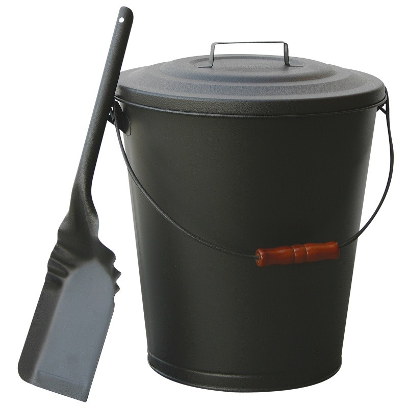 Olde World Iron Finish Ash Bin With Lid And Shovel : Fire Pits & Fireplaces