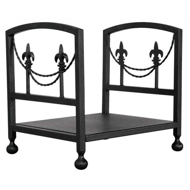 Olde World Iron Fleur-De-Lis Log Rack