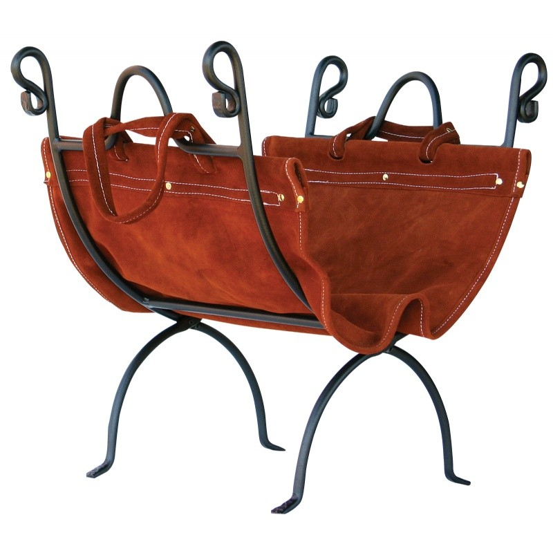 Olde World Iron Log Holder With Suede Leather Carrier : Fire Pits & Fireplaces