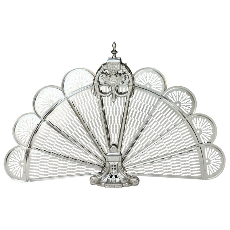 Pewter Finish Ornate Fan Screen : Fire Pits & Fireplaces