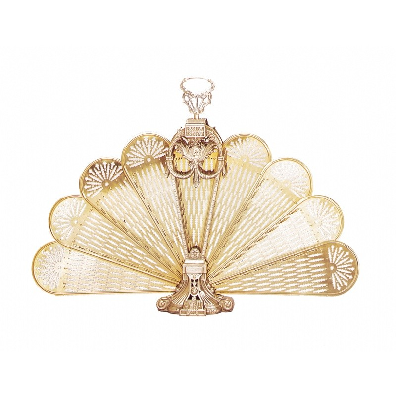 Polished Brass Ornate Fan Screen, Medium