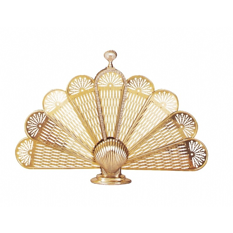 Polished Brass Shell Fan Screen, Medium : Fire Pits & Fireplaces