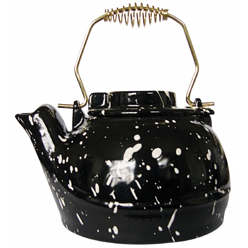 Porcelain Coated Kettle-Black With White Speckles 2.5 Quart