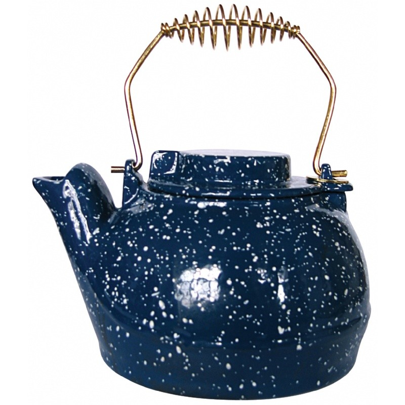 Porcelain Coated Kettle-Blue With White Speckles 2.5 Quart
