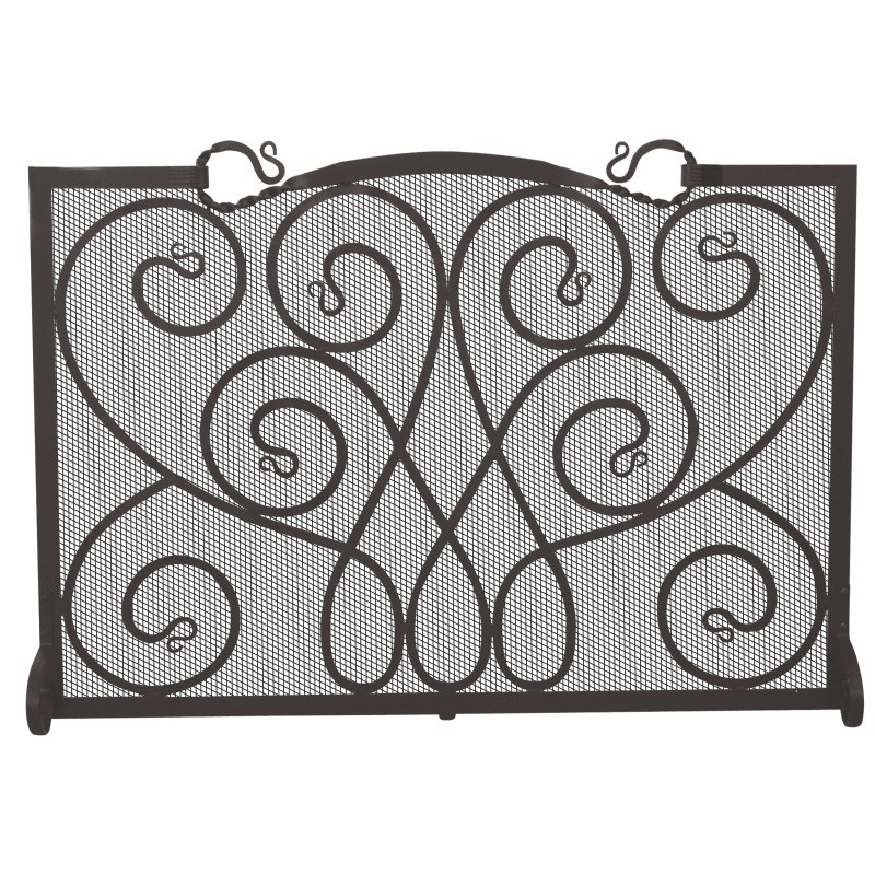 Single Panel Black Wrought Iron Ornate Screen