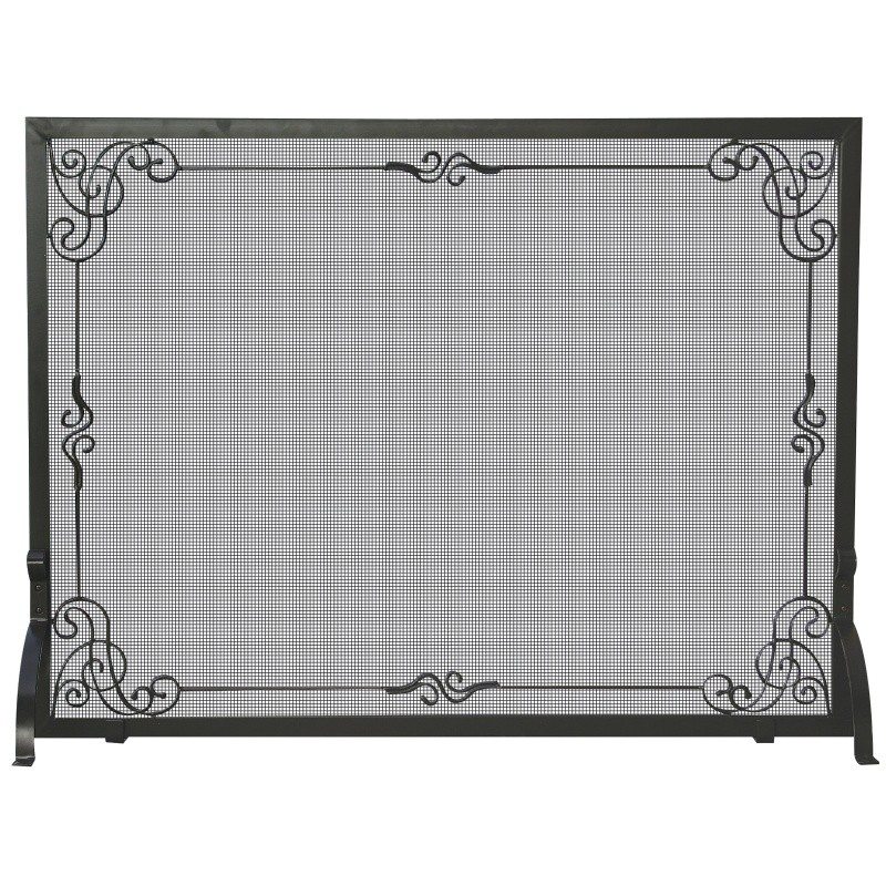 Single Panel Black Wrought Iron Screen With Decorative Scroll : Fire Pits & Fireplaces