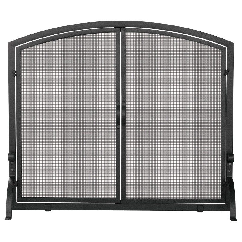 Single Panel Black Wrought Iron Screen With Doors, Large