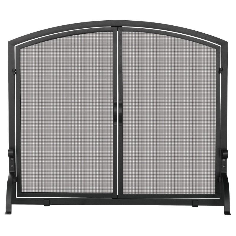 Single Panel Black Wrought Iron Screen With Doors, Medium