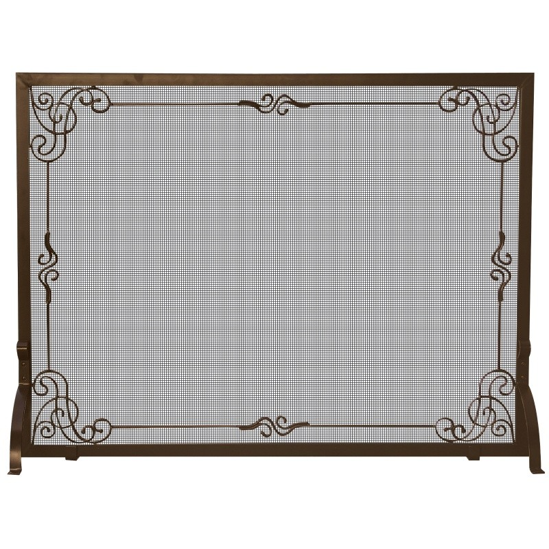 Single Panel Bronze Finish Screen With Decorative Scroll : Fire Pits & Fireplaces