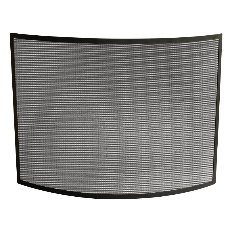 Single Panel Curved Black Wrought Iron Screen : Fire Pits & Fireplaces