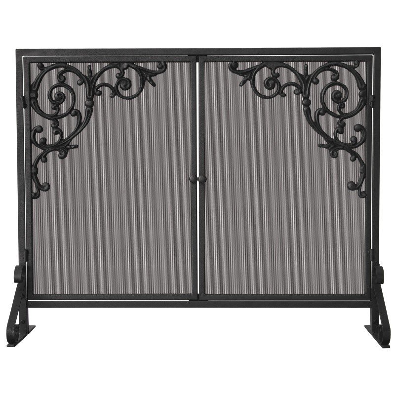 Single Panel Olde World Iron Screen With Doors & Cast Strolls