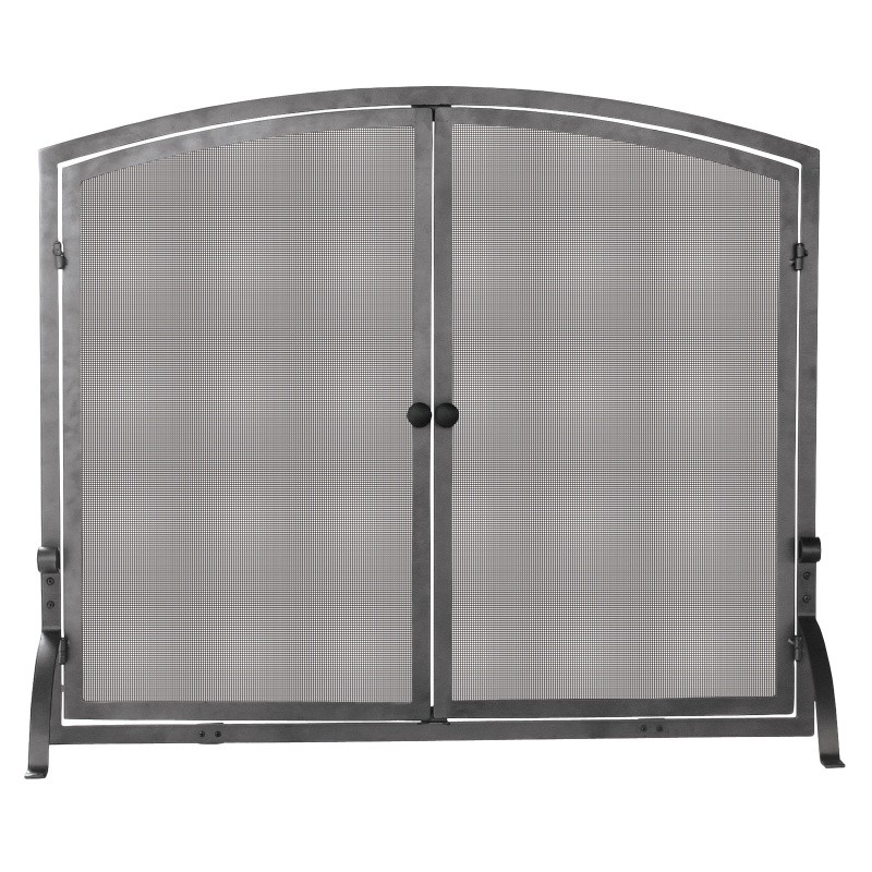 Single Panel Olde World Iron Screen With Doors, Large : Fire Pits & Fireplaces