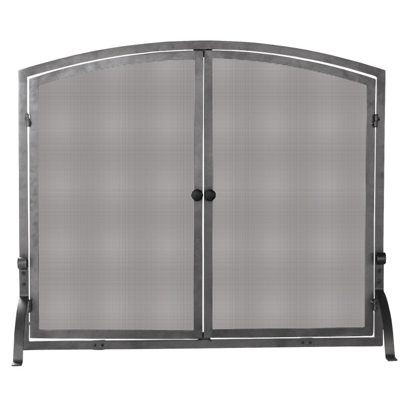 Single Panel Olde World Iron Screen With Doors, Medium : Fire Pits & Fireplaces