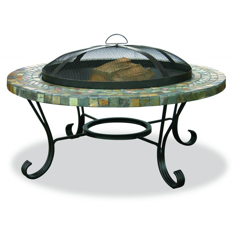 Fire Pit on Wheels: Slate Tile Copper Accent Outdoor Fire Pit 34 inch Light