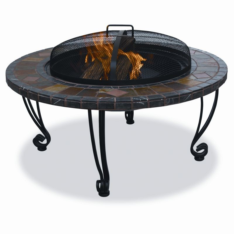 Fire Pit on Wheels: Slate Tile Copper Accent Outdoor Fire Pit 34 inch Dark