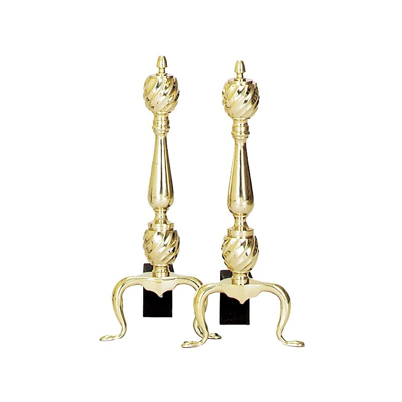 Solid Brass Twist Andirons