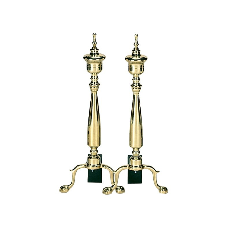 Solid Brass Urn Andirons : Fire Pits & Fireplaces