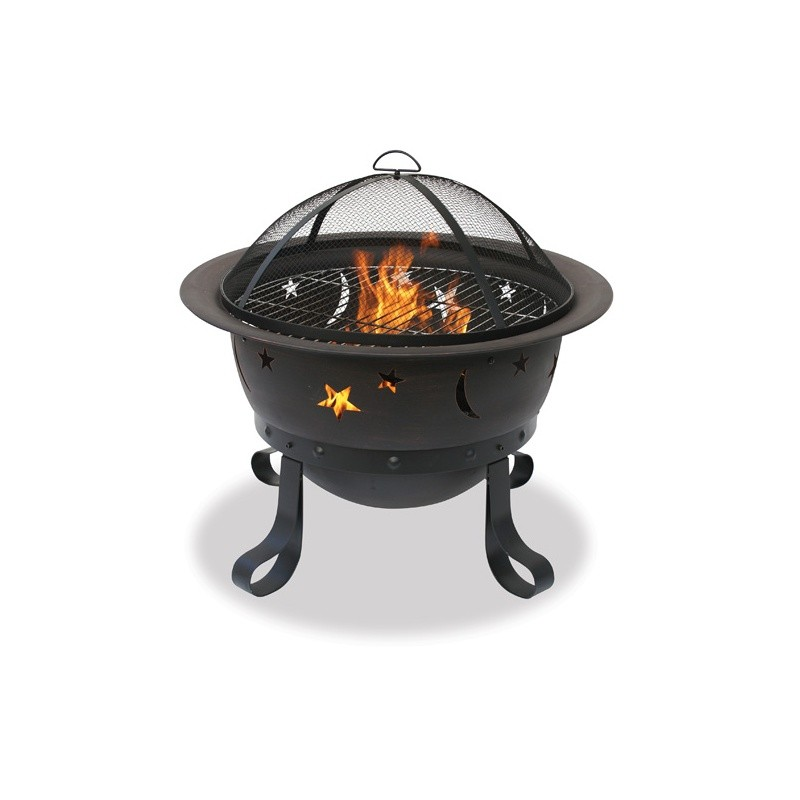 Fire Pit Cooking Grill: Moonlight Bronze Outdoor Fire Pit 30 inch