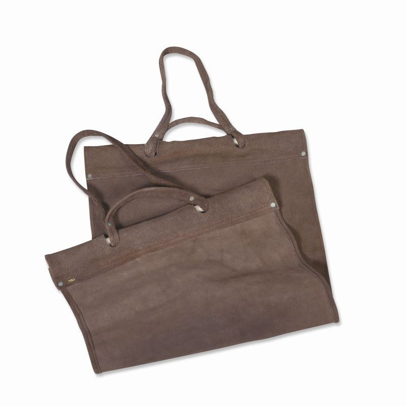Outdoor Fire Pit Grates: Wood Carrier Brown Suede Log Tote Bag