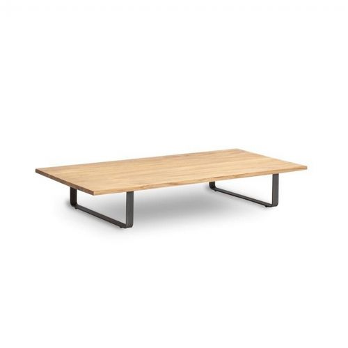 Bitta Rectangle Modern Outdoor Coffee Table With Teak Top