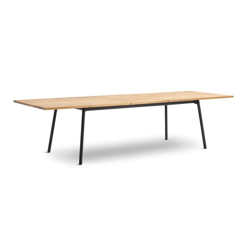 Bitta Rectangle Modern Outdoor Dining Table with Teak Top Extendable