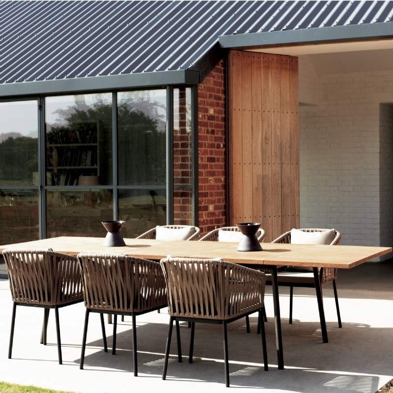 Outdoor Furniture: Kettal: Bitta Collection: Bitta Braided Modern Outdoor Dining Set 7 Piece