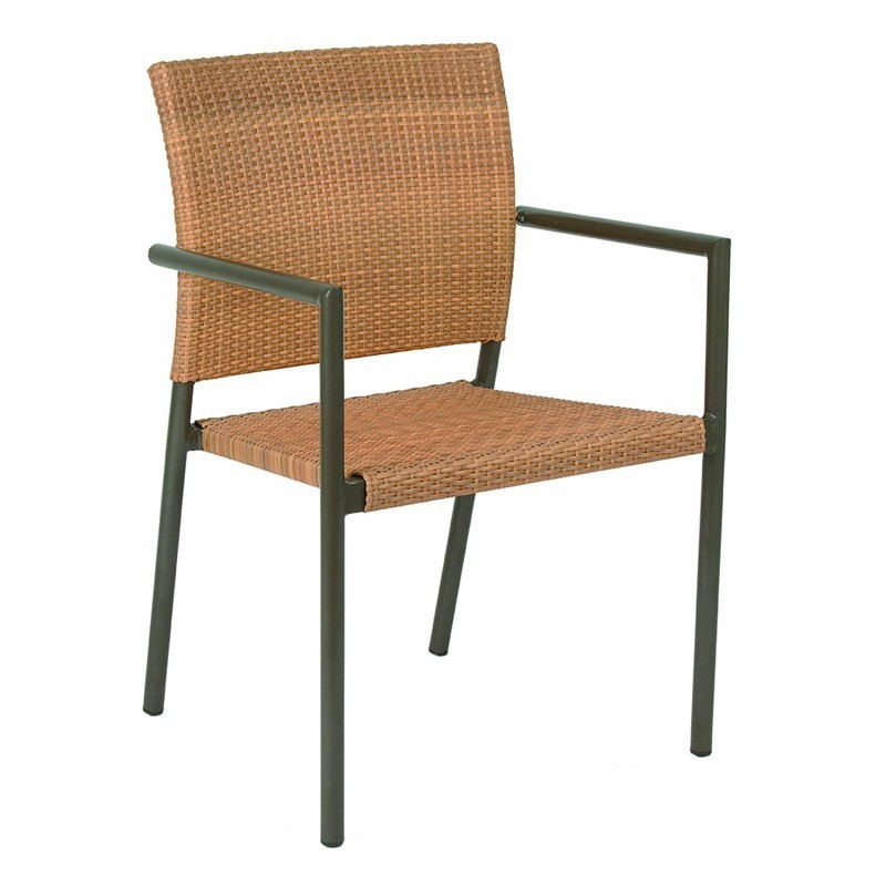 Corcega aluminum wicker stackable patio dining chair 3040 for Stackable outdoor dining chairs